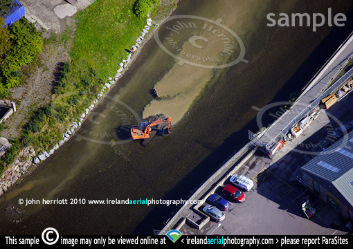 dredging Bandon river aerial view