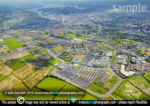 apple, hollyhill, Cork. Aerial view to city