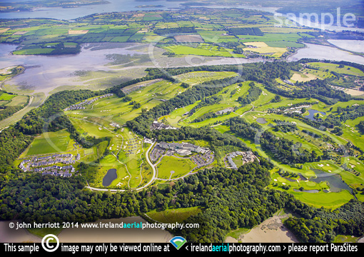 Day one; Aerial of Irish Open Golf, Fota
