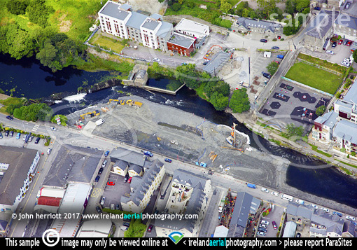 Bandon West Cork aerial of flood relief works