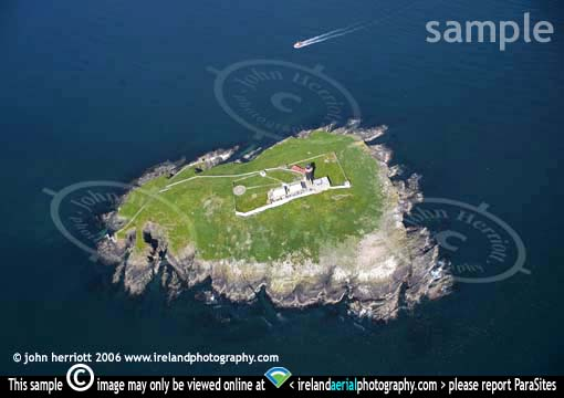 Ballycotton Lighthouse aerial photo and boat