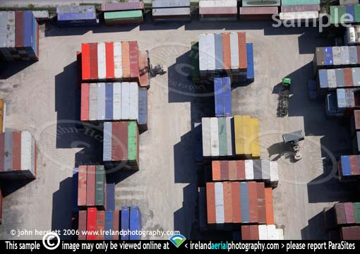 graphic aerial view of shipping containers
