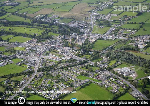 Cahir , aerial view looking south west