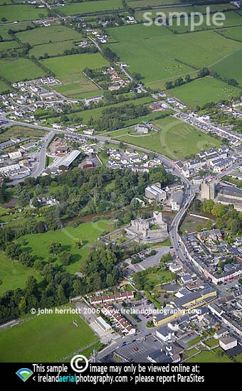 Portrait format aerial view of Cahir