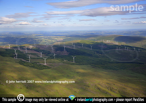 Aerial photo of 38 wind turbines at Coomagearlahy