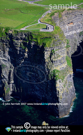 O'Briens Tower, Cliffs of Moher, Co Clare aerial photograph