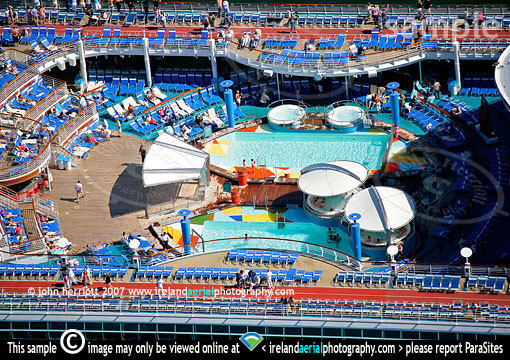 pool deck cruise liner aerial viewpoint