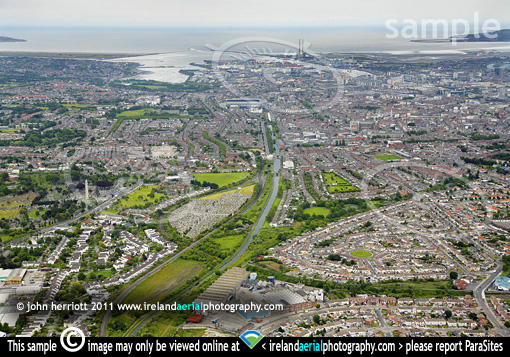 Phibsborough and Dromcondra aerial along Royal Canal