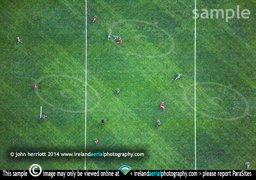 Hurling players aerial view